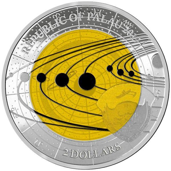 """2 $ Palau """"Niob Solarsystem - Saturn"""" 2017 Ag PL"""