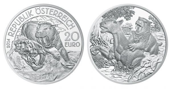 """20 € Österreich """"Leben auf der Erde - Tertiär"""" 2014 Ag PP"""