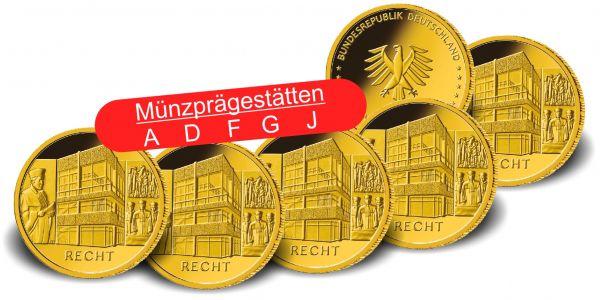 5x 100 Euro DE Säulen der Demokratie - Recht 2021 Gold St A-J