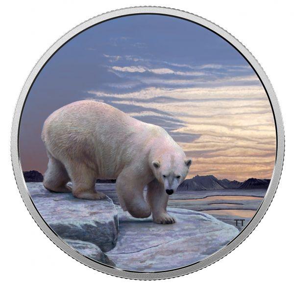 """30 $ Kanada """"Arktische Tiere und Nordlicht - Eisbär"""" 2018 Ag PP"""