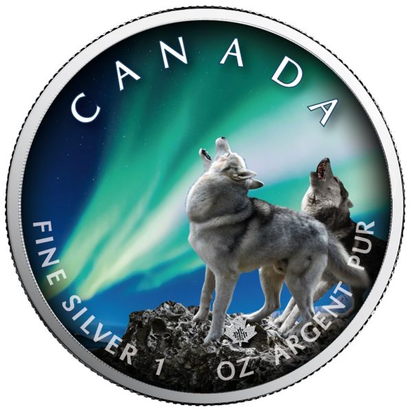 5 Dollar Kanada Polarlichter - Banff Nationalpark 2020 Silber St