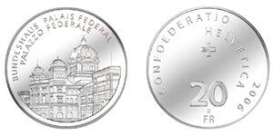 """20 CHF Schweiz """"Bundeshaus"""" 2006 Silber St"""