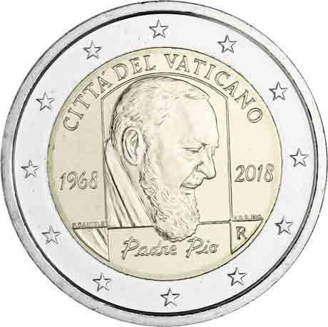 """2 € Vatikan """"50. Jahrest. d. Todes von Padre Pio"""" 2018 CN St"""