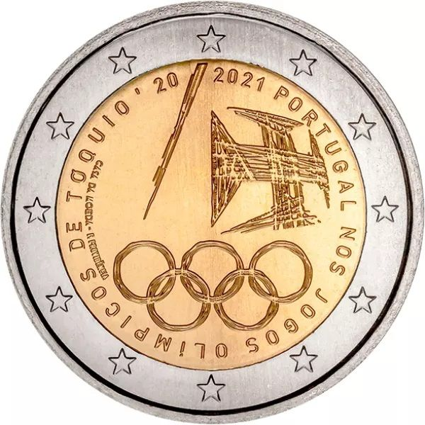 2 Euro Portugal Olympische Spiele Tokio 2021 CuNi bfr