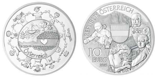 """10 € Österreich """"Osterreich"""" 2016 Silber PP"""