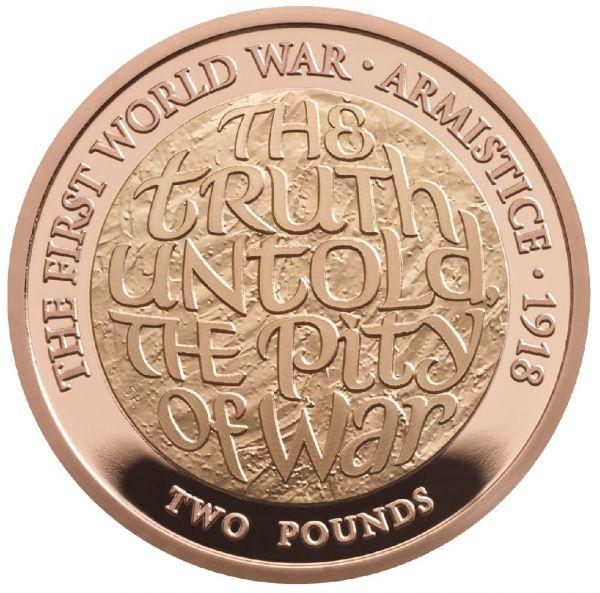 """2 £ Großbrit. """"100 Jahre Waffenstillstand"""" 2018 Gold PP"""