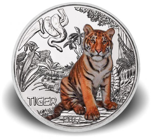 """3 € Österreich """"Tiertaler - Tiger"""" 2017 Buntmetall hgh"""
