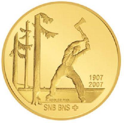 """50 CHF Schweiz """"Schweizer Nationalbank"""" 2007 Gold PP"""