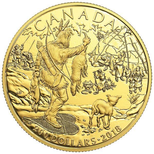 """200 $ Kanada """"Kanadische Geschichte - First Nations"""" 2018 Au PP"""