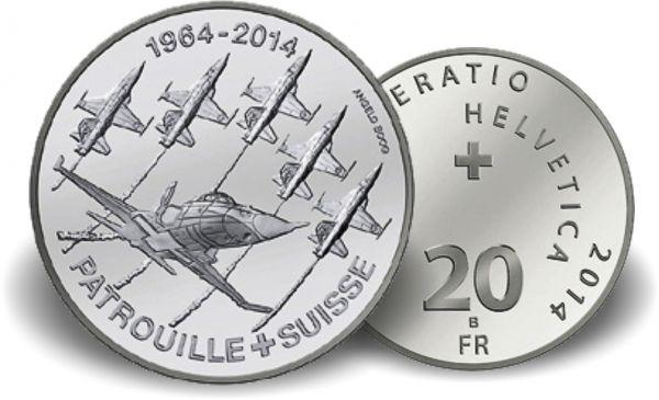 """20 CHF Schweiz """"50 Jahre Patrouille Suisse"""" 2014 st Ag"""