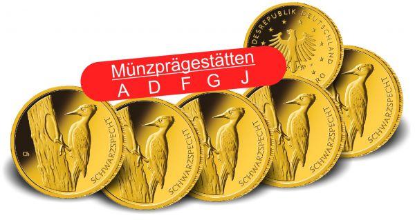 5x 20 Euro DE Schwarzspecht 2021 Gold St 1/8oz A-J