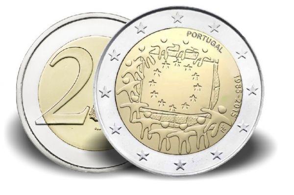 "2 € Portugal ""30 Jahre Europaflagge"" 2015 Cn vz"
