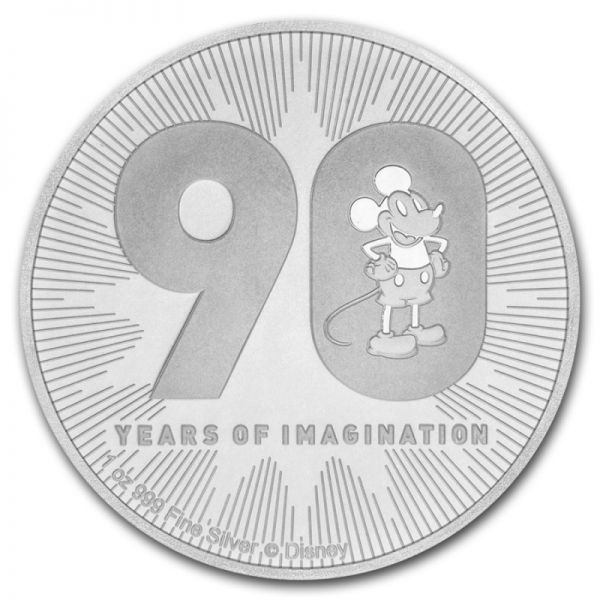 """2 Dollar Niue """"90. Geb. Mickey Mouse™"""" 2018 Silber St"""