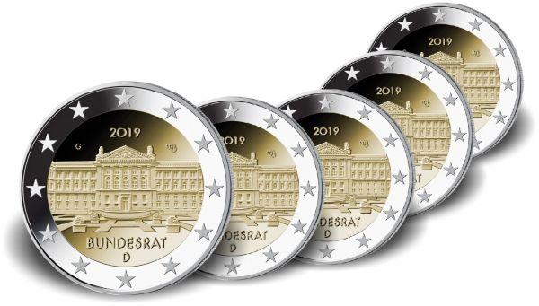 """5x2 € Deutschland """"Bundesrat"""" 2019 CN bfr A-J"""