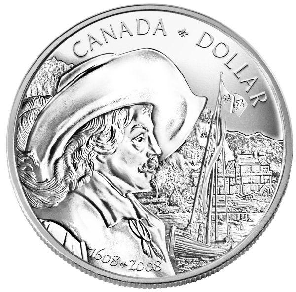 1 Dollar Kanada 400 Jahre Stadt Quebec 2008 Silber St