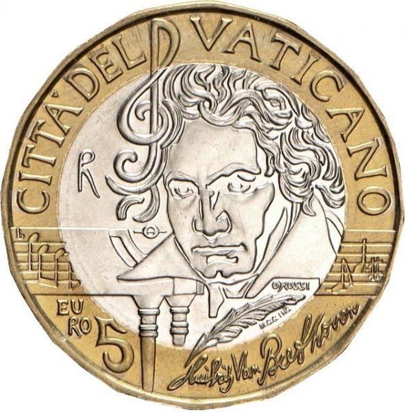 5 Euro Vatikan 250. Geb. Ludwig van Beethoven 2020 CN PP
