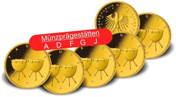 5x 50 Euro DE Pauke 2021 Gold St 1/4oz A-J