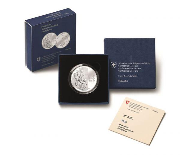 20 CHF Schweiz 150 J. Feuerwehrverband 2020 Silber PP