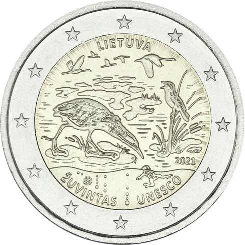 2 Euro Litauen Žuvintas - Biosphärenreservat 2021 CN bfr