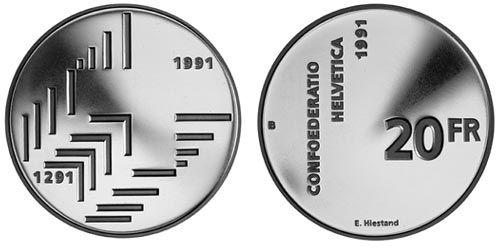 20 CHF 700 J. Eidgenossenschaft 1991 Ag St