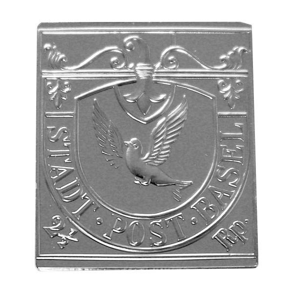 Basler Taube - Berühmtesten Briefmarken d. Welt Silber, geprägt.
