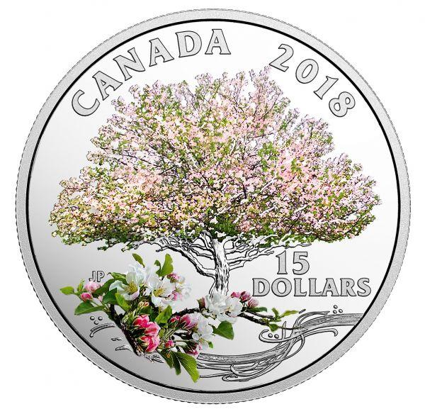 "15 $ Kanada ""Apfelblüte"" 2018 Silber PP"