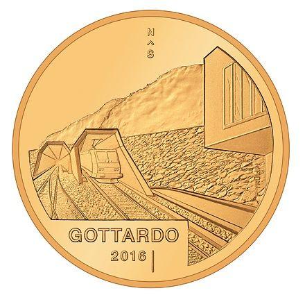 "50 CHF Schweiz ""Gotthard-Tunnel"" 2016 Gold PP"