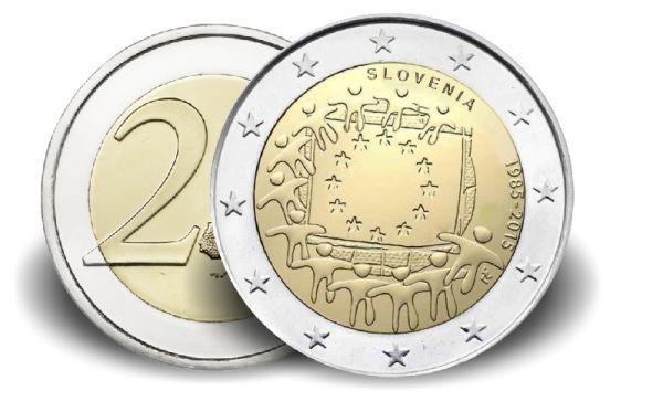 """2 € Slowenien """"30 Jahre Europaflagge"""" 2015 CN vz"""