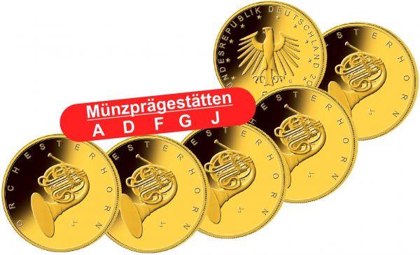 5x 50 Euro DE Orchesterhorn 2020 Gold St 1/4oz A-J
