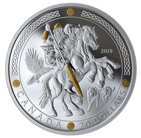 "20 $ Kanada ""Odin - Nordische Götter"" 2019 Silber PP"