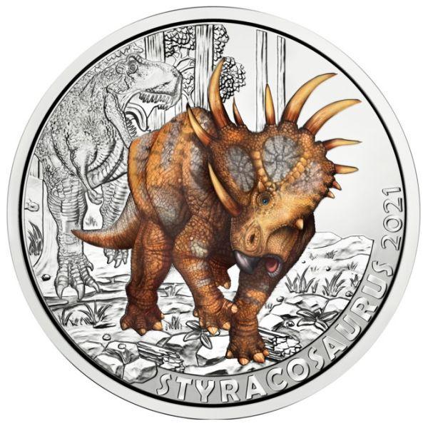 3 Euro ÖS Dinotaler Styracosaurus albertensis 21 Buntmetall hgh