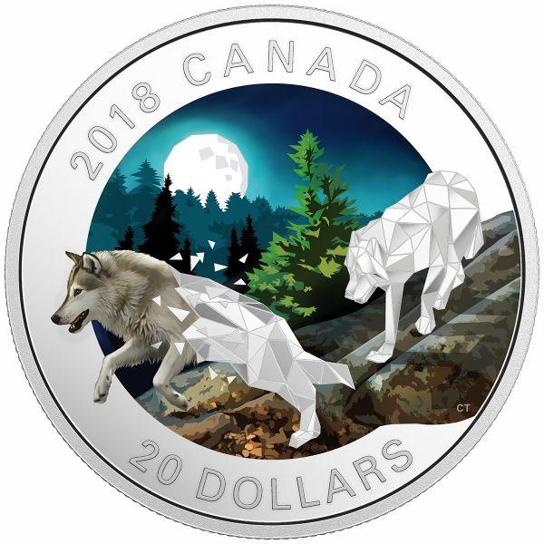 "20 $ Kanada ""Geometric Fauna - Graue Wölfe"" 2018 Silber PP"