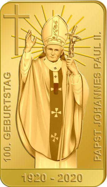100 J. Papst Johannes Paul II. Goldbarren 0,5 Gramm PL