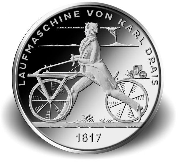 """20 € DE """"Laufmaschine von Karl Drais 1817"""" 2017 Silber St -G-"""