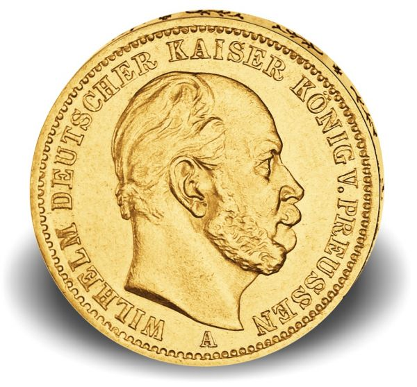 10 Mark Preußen Wilhelm I. 1872-73 Gold vz