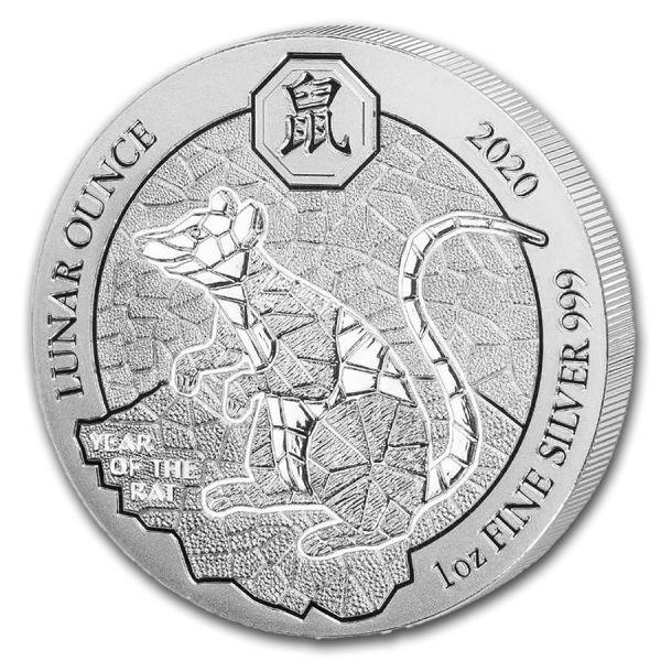 50 RWF Ruanda Lunar Ratte / Maus 2020 1oz Silber St