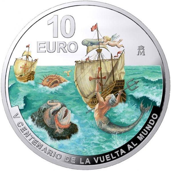 10 Euro Spanien Weltumsegelung Magellanstrasse 2020 Silber PP