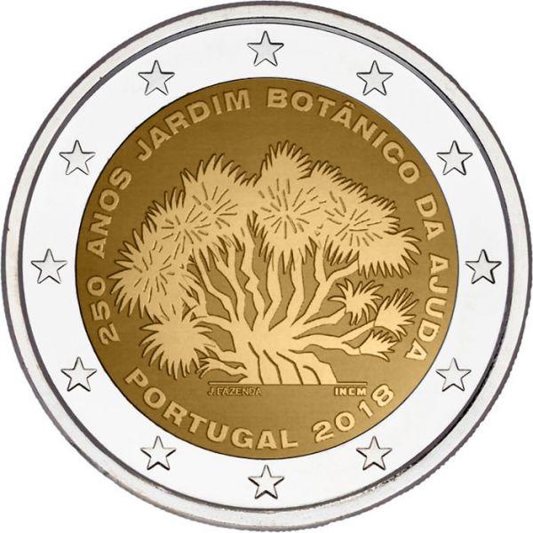 """2 € Portugal """"250 J. Botanischer Garten von Ajuda"""" 2018 CuNi bfr"""