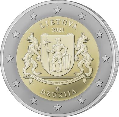 2 Euro Litauen Dzukija - Litauische Regionen 2021 CN bfr