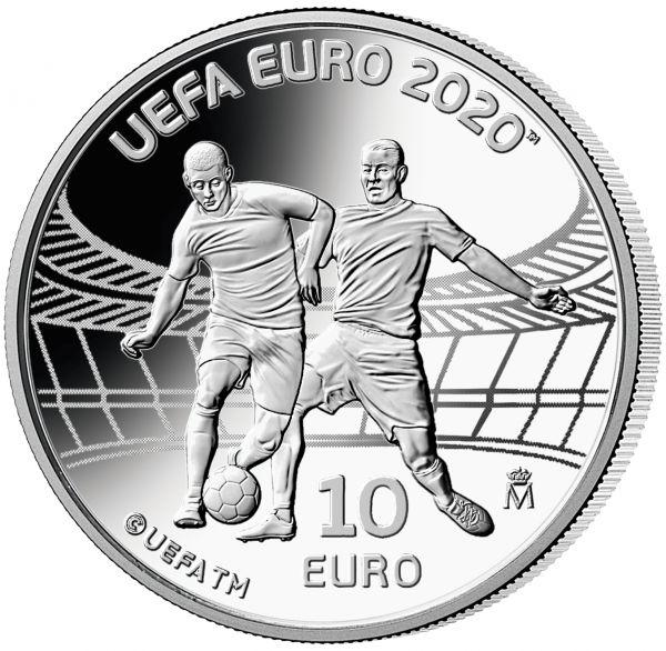 10 Euro Spanien UEFA - Fußball EM 2020 Silber PP