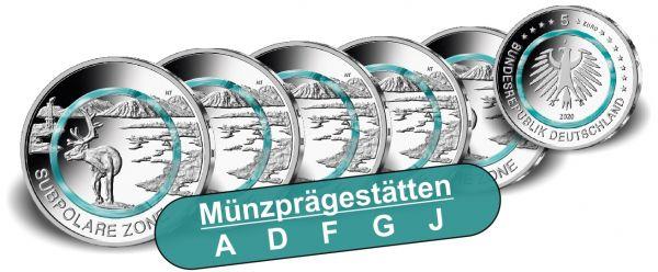 5x 5 Euro DE Subpolare Zone 2020 CN bfr A-J