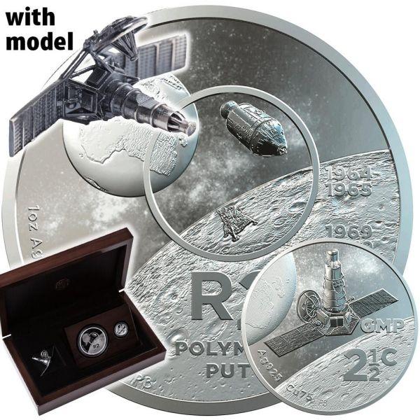 "2,025 Rand Südafrika ""50 J. Mondlandung Set"" 2019 Silber PP"