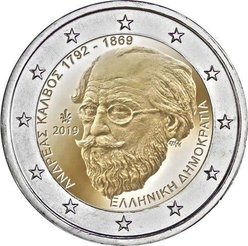 """2 € Griechenland """"150. Todestag Andreas Kalvos"""" 2019 CuNi bfr"""