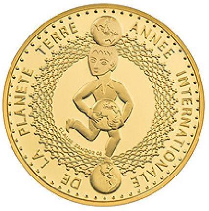 """50 CHF Schweiz """"Internat. Jahr des Planeten Erde"""" 2008 Gold PP"""
