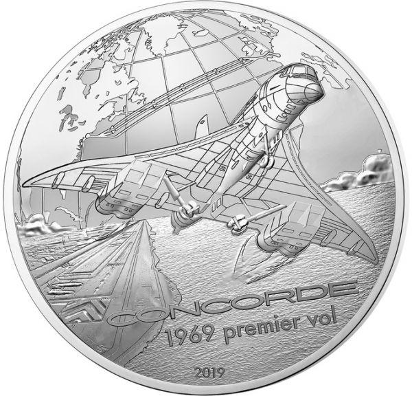"""10 € Frankr. """"Geschichte u. Luftfahrt - Concorde"""" 2019 Silber PP"""