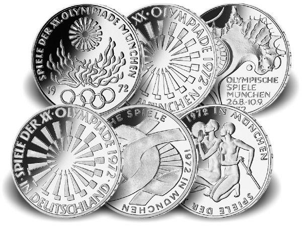 6x 10 DM Olympia 1972 Silber st