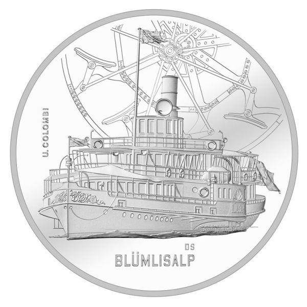 """20 CHF Schweiz """"Dampfschiff - Blümlisalp"""" 2019 Silber PP"""