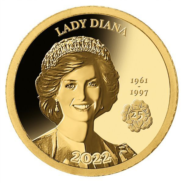 100 Francs Dschibuti 25. Todestag Lady Diana 2022 Gold PP