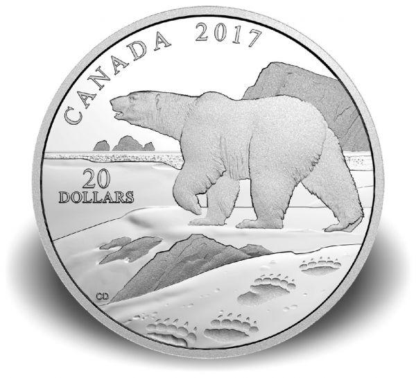 """20 $ Kanada """"Impressionen der Natur - Eisbär"""" 2017 PP Ag"""