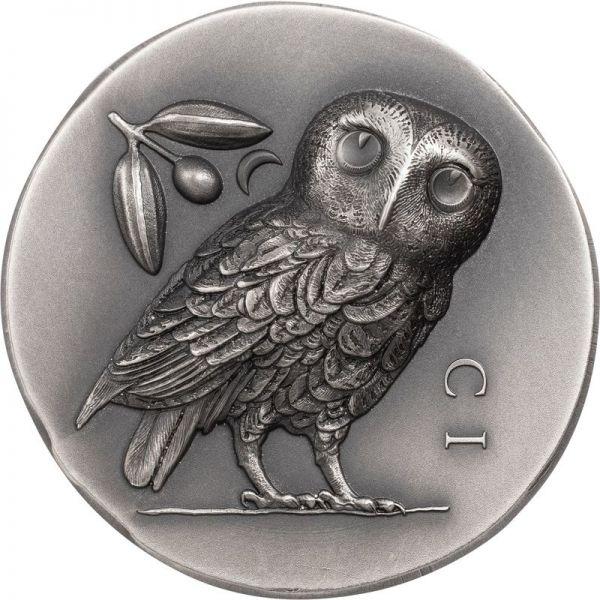 5 Dollar Cook Islands Athener Eule 2021 Silber AF